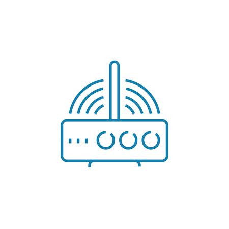 Wi-fi router line icon, vector illustration. Wi-fi router linear concept sign. Illustration