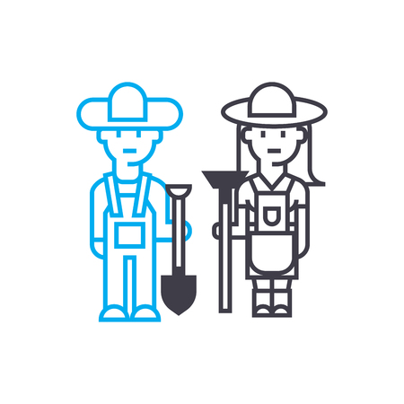 Work in the garden line icon, vector illustration. Work in the garden linear concept sign.  イラスト・ベクター素材