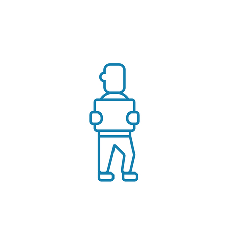 Worker in warehouse line icon, vector illustration. Worker in warehouse linear concept sign.