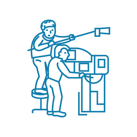 Work on tv line icon, vector illustration. Work on tv linear concept sign.