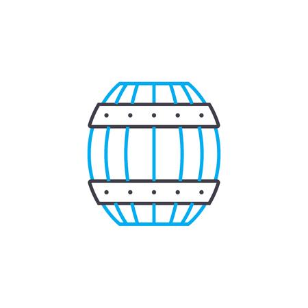 Wooden barrel line icon, vector illustration. Wooden barrel linear concept sign.