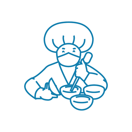Working as a cook line icon, vector illustration. Working as a cook linear concept sign. Banque d'images - 101976194