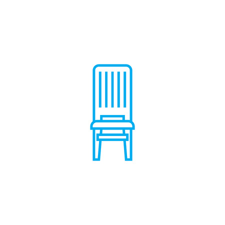 Wooden chair line icon, vector illustration. Wooden chair linear concept sign.