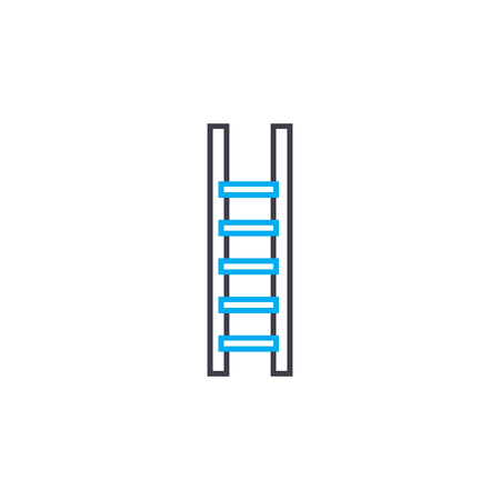 Wooden staircase line icon, vector illustration. Wooden staircase linear concept sign. Stock Illustratie