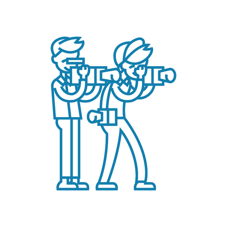 Working as a correspondent line icon, vector illustration. Working as a correspondent linear concept sign.