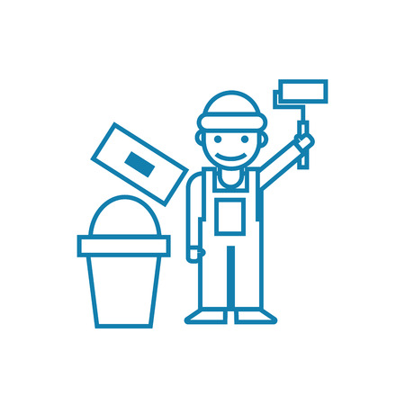 Working as a painter line icon, vector illustration. Working as a painter linear concept sign.