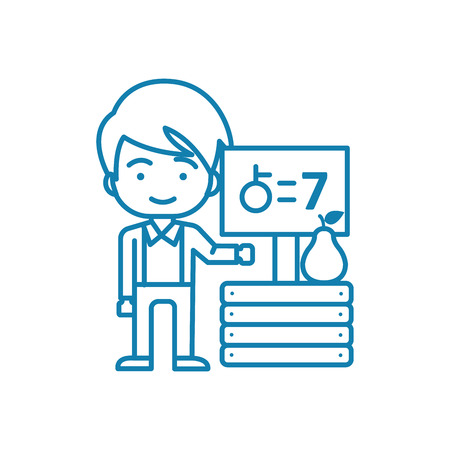 Working as a seller line icon, vector illustration. Working as a seller linear concept sign.
