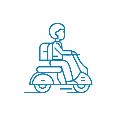 Working as a courier line icon, vector illustration. Working as a courier linear concept sign.