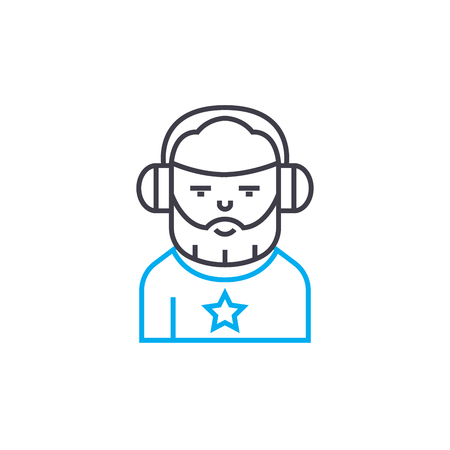Working as a dj line icon, vector illustration. Working as a dj linear concept sign.