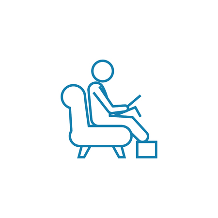Working as a driver line icon, vector illustration. Working as a driver linear concept sign.