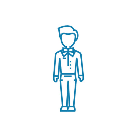 Working as a waiter line icon, vector illustration. Working as a waiter linear concept sign. Stok Fotoğraf - 102006445
