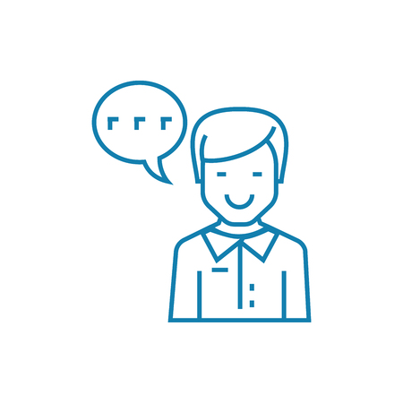 Working as an announcer line icon, vector illustration. Working as an announcer linear concept sign.