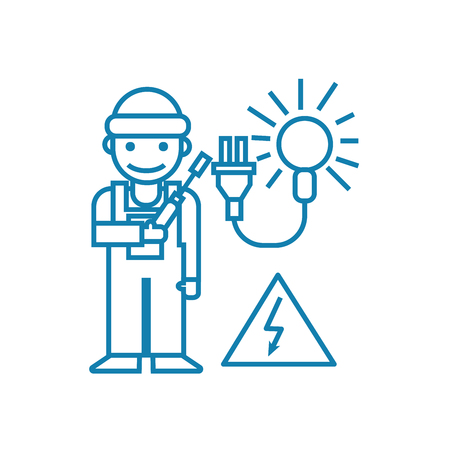 Working as an electrician line icon, vector illustration. Working as an electrician linear concept sign. Ilustrace