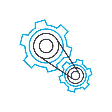 Working mechanism system line icon, vector illustration. Working mechanism system linear concept sign. Иллюстрация