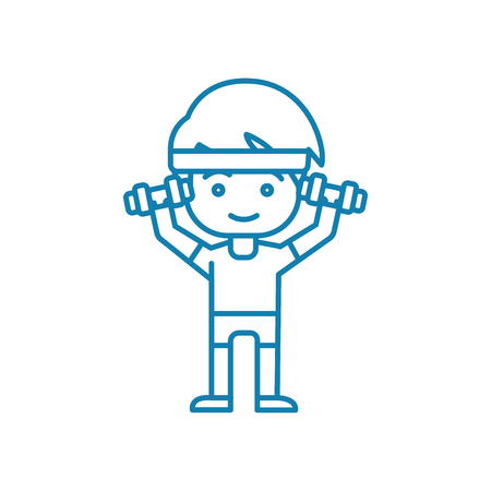 Working out with dumbbells line icon, vector illustration. Working out with dumbbells linear concept sign.