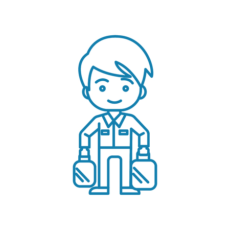 Working as a loader line icon, vector illustration. Working as a loader linear concept sign.