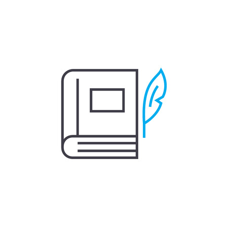 Writing books line icon, vector illustration. Writing books linear concept sign.
