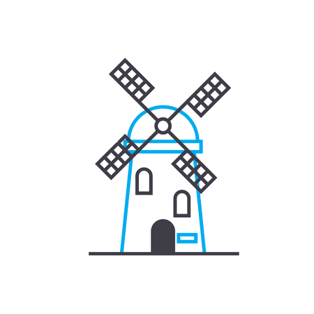 Working at the mill line icon, vector illustration. Working at the mill linear concept sign.