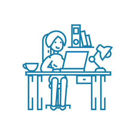 Working in the office line icon, vector illustration. Working in the office linear concept sign. Ilustração