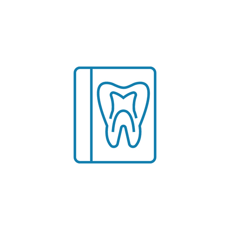 X-ray of the tooth line icon, vector illustration. X-ray of the tooth linear concept sign.