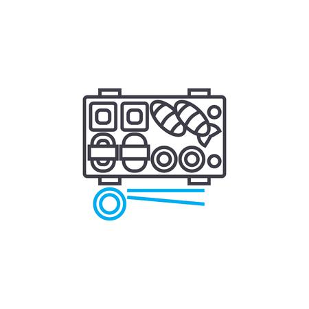 Sushi & rolls line icon, vector illustration. Sushi & rolls linear concept sign. Illustration