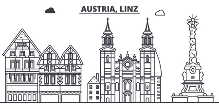 Austria, Linz line skyline vector illustration. Austria, Linz linear cityscape with famous landmarks, city sights, vector design landscape.