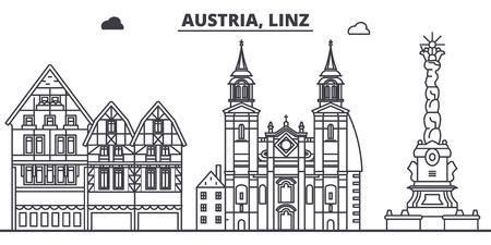 Austria, Linz line skyline vector illustration. Austria, Linz linear cityscape with famous landmarks, city sights, vector design landscape.