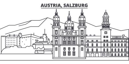 Austria, Salzburg line skyline vector illustration. Austria, Salzburg linear cityscape with famous landmarks, city sights, vector design landscape.