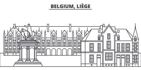 Belgium, Liege line skyline vector illustration. Belgium, Liege linear cityscape with famous landmarks, city sights, vector design landscape.