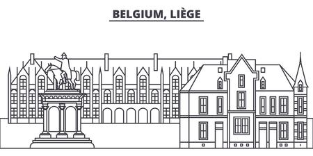 Belgium, Liege line skyline vector illustration. Belgium, Liege linear cityscape with famous landmarks, city sights, vector design landscape.