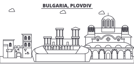 Bulgaria, Plovdiv line skyline vector illustration. Bulgaria, Plovdiv linear cityscape with famous landmarks, city sights, vector design landscape.