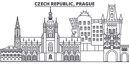 Czech Republic, Prague line skyline vector illustration. czech Republic, Prague linear cityscape with famous landmarks, city sights, vector landscape.