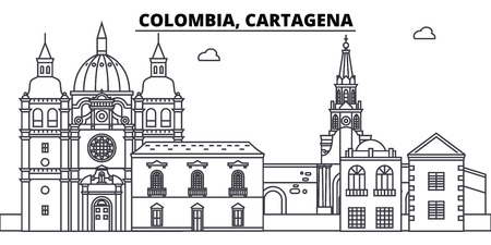 Colombia, Cartagena line skyline vector illustration. Colombia, Cartagena linear cityscape with famous landmarks, city sights, vector design landscape.