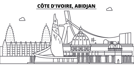 C te D ivoire, Abidjan line skyline vector illustration. C te D ivoire, Abidjan linear cityscape with famous landmarks, city sights, vector landscape.