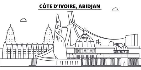 C te D ivoire, Abidjan línea horizonte ilustración vectorial. C te D ivoire, paisaje urbano lineal de Abidjan con monumentos famosos, lugares de interés de la ciudad, paisaje vectorial.
