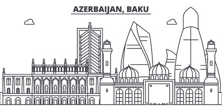 Azerbaijan, Baku line skyline vector illustration. Azerbaijan, Baku linear cityscape with famous landmarks, city sights, vector design landscape.