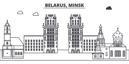 Belarus, Minsk line skyline vector illustration. Belarus, Minsk linear cityscape with famous landmarks, city sights, vector design landscape.