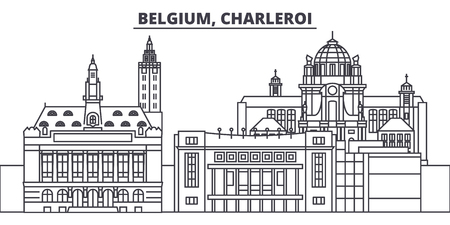 Belgium, Charleroi line skyline vector illustration. Belgium, Charleroi linear cityscape with famous landmarks, city sights, vector design landscape.