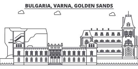 Bulgaria, Varna, Golden Sands line skyline vector illustration. Bulgaria, Varna, Golden Sands linear cityscape with famous landmarks, city sights, vector design landscape. Standard-Bild - 102032390