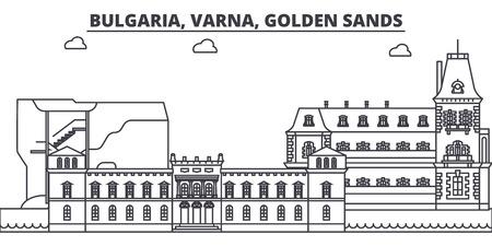 Bulgaria, Varna, Golden Sands line skyline vector illustration. Bulgaria, Varna, Golden Sands linear cityscape with famous landmarks, city sights, vector design landscape.