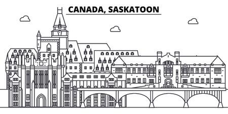 Canada, Saskatoon line skyline vector illustration. Canada, Saskatoon linear cityscape with famous landmarks, city sights, vector design landscape.