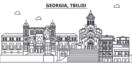 Georgia, Tbilisi line skyline vector illustration. Georgia, Tbilisi linear cityscape with famous landmarks, city sights, vector design landscape. Ilustração