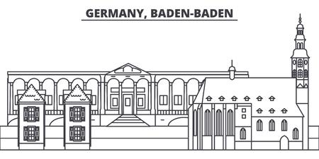 Germany, Baden Baden line skyline vector illustration. Germany, Baden Baden linear cityscape with famous landmarks, city sights, vector design landscape. Ilustração