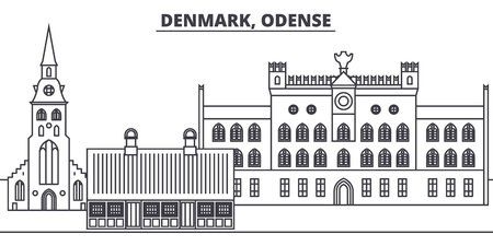 Denmark, Odense line skyline vector illustration. Denmark, Odense linear cityscape with famous landmarks, city sights, vector design landscape. Иллюстрация