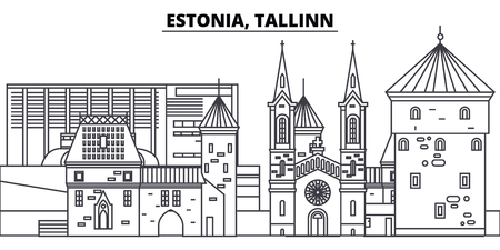 Estonia, Tallinn line skyline vector illustration. Estonia, Tallinn linear cityscape with famous landmarks, city sights, vector design landscape.  イラスト・ベクター素材