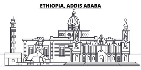 Ethiopia, Addis Ababa line skyline vector illustration. Ethiopia, Addis Ababa linear cityscape with famous landmarks, city sights, vector design landscape. Banque d'images - 101996253