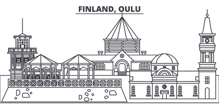 Finland, Oulu line skyline vector illustration. Finland, Oulu linear cityscape with famous landmarks, city sights, vector design landscape. Çizim