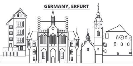 Germany, Erfurt line skyline vector illustration. Germany, Erfurt linear cityscape with famous landmarks, city sights, vector design landscape.