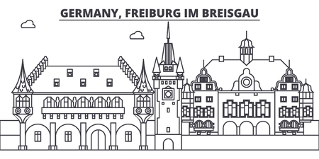 Germany, Freiburg Im Breisgau line skyline vector illustration. Germany, Freiburg Im Breisgau linear cityscape with famous landmarks, city sights, vector design landscape.