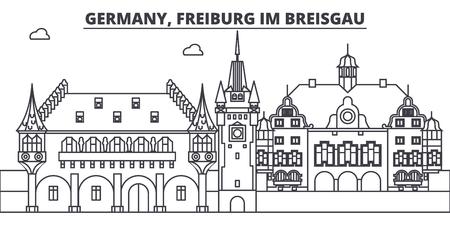 Germany, Freiburg Im Breisgau line skyline vector illustration. Germany, Freiburg Im Breisgau linear cityscape with famous landmarks, city sights, vector design landscape.